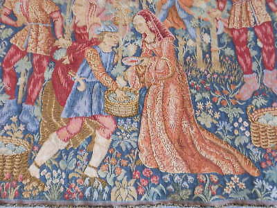 FRENCH Vintage COTTON TAPESTRY  -  MEDIEVAL Scene - FRANCE