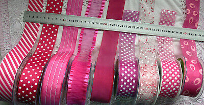 ROSE PINK & WHITE 38mm Wide 2, 3 & 5 Metres Spots Stripes 9 Design Styles Choice