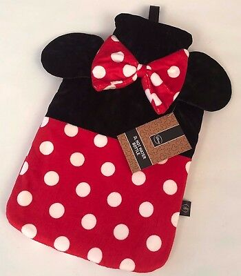 PRIMARK DISNEY MINNIE MOUSE RED/BLACK NOVELTY HOT WATER BOTTLE - Brand New