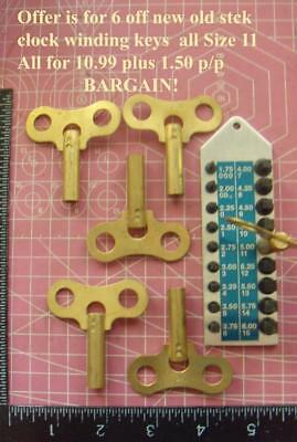 6 New old stock Clock winding keys (yes 6 off) Size 11  job lot
