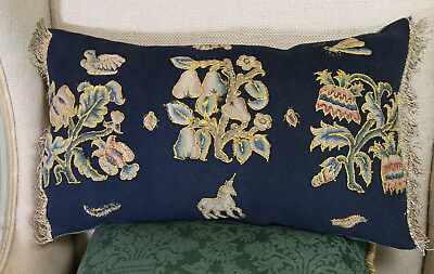 Antique Embroidered Pillow C17th Jacobean StumpWork Slips  Flowers Bugs Unicorn