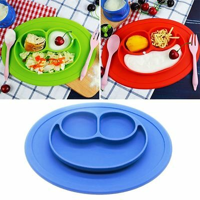 Baby Plate One-piece Silicone Plate Tray Dishes Food Holder Portable PlattersNew