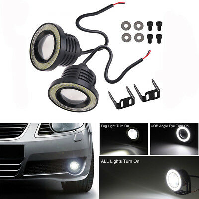 2Pcs Car Projector LED Fog Light COB Halo Angel Eye Ring DRL Driving Bulb White