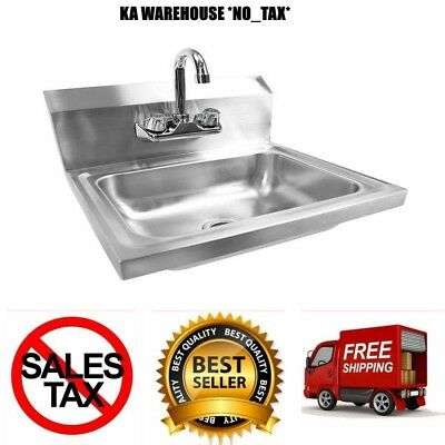12'' x 16'' Stainless Steel Sink With Gooseneck Faucet And Side Splash Hand Wash