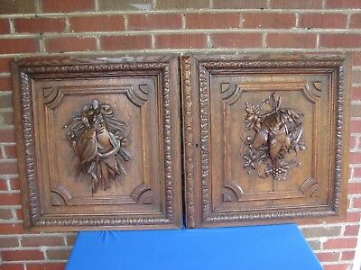 Pair Antique French Carved Oak Doors With Grouse & Fish Trophy Decoration