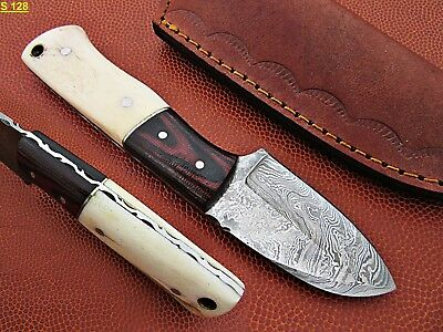 Custom Hand Made Damascus steel Hunting Knife With Camel Bone Handle.