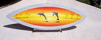 Dolphin Surfboard Wall Art nautical art Hand painted handcrafted wooden wall art