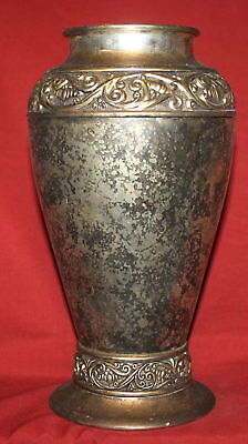 Antique ornate floral silver plated vase