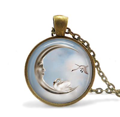 Crescent Moon and Swan Couple Necklace Glass Cabochon Bronze chain Necklace