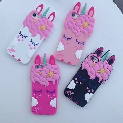 For iPhone 5 5S 5C SE Shy Unicorn 3D Cute Cartoon Phone Case Cover Soft Silicone
