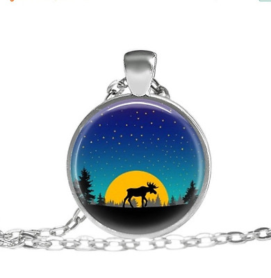 Moose, Orange Moon Forest, The Woods Tibet silver pendant chain Necklace