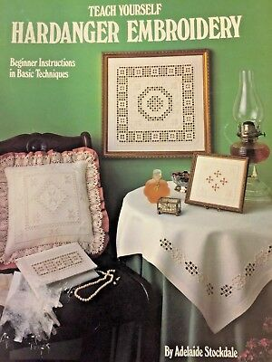 1984 Teach Yourself Hardanger Embroidery Needlecraft Patterns 14 pg Leaflet