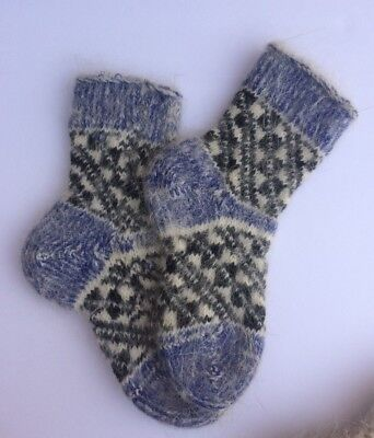 Knitted Sheep wool Kids socks Thick warm Blue Black White ( Age 4-6) Russia