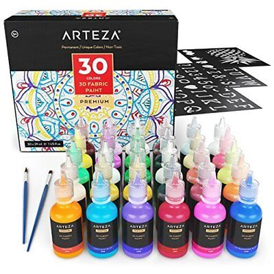Arteza 3D Fabric Permanent Paint Set for Textile, Fabric, Canvas, Wood, Ceramic,
