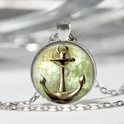 Anchor Compass, Tibet silver Dome Glass Cabochon Necklace chain Pendant #23