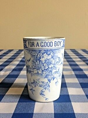 "Antique 19c. Staffordshire 1800's Blue & White ""For a good boy"" Tumbler Cup"