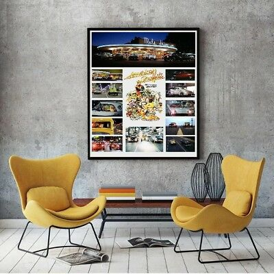 """Large Size 24""""x32"""" American Graffiti Collage Tribute Poster - Famous Cars"""