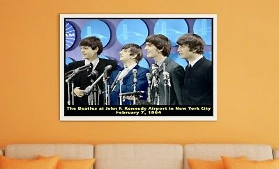 """Large Size 24""""x32"""" The Beatles at JFK Airport New York February 1964 Poster"""