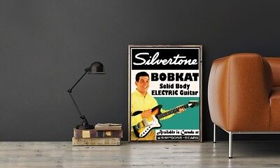 "Large Size 24""x32"" Silvertone Bobkat Solid Body Electric Guitar Poster"