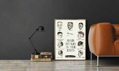 """Large Size 24""""x32"""" Hair Styles in the 1950's Poster"""