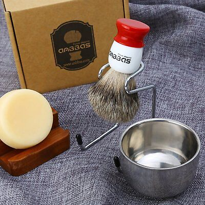 4 in1 Anbbas Shaving Kits Red&White Resin Handle Shaving Brush+Holder+Bowl+Soap