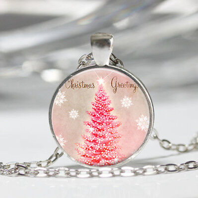 Retro Christmas tree Tibet silver dome Glass Cabochon Necklace chain Pendant #4