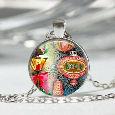 Retro Christmas Tibet silver dome Glass Cabochon Necklace chain Pendant #442