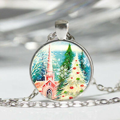 Retro Christmas Tibet silver dome Glass Cabochon Necklace chain Pendant #439