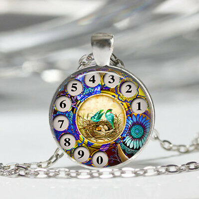 Phone Rotary Dial Tibet silver Dome Glass Cabochon Necklace chain Pendant #384