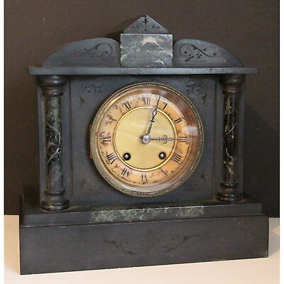 A Victorian Marble Cased Eight Day Mantle Clock, Chiming on a Coiled Gong