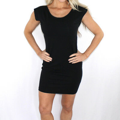 New American Apparel Women's Black Cotton Spandex Two-Tone Fitted Mini Dress L