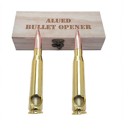 2 X 50 Caliber BMG Bullet beer Bottle Opener  with wooden box for man gift