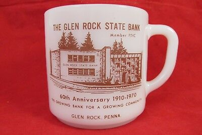Vintage 1970's THE GLEN ROCK STATE BANK 60th Anniversary Penna PA Milkglass Mug