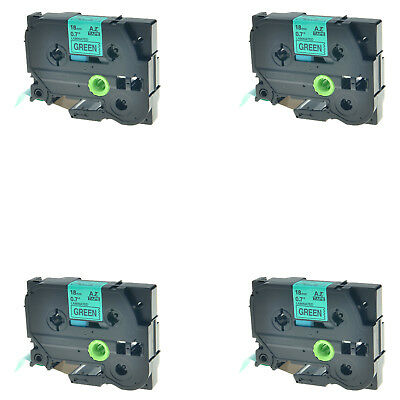 4PK TZ-741 Black on Green Label Tape For Brother P-Touch PT-2730 PT-580 TZe-741