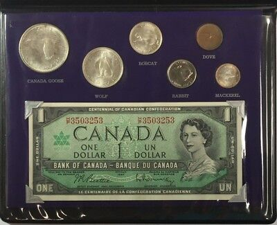 """1967 """"Canadian Wildlife"""" Uncirculated Coinage set W/ $1 Note  SKU#12017"""