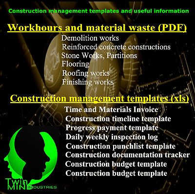 Construction management templates and work hours estimation