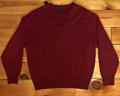 VINTAGE BROOKS BROTHERS Pure Cashmere Red Sweater Made in England Mens Large 44