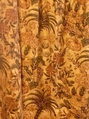 Antique French 19th C Cotton Print 1 Lg Drape fabric brown Green floral w Palms