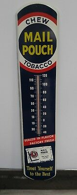 1950s Mail Pouch Chewing Tobacco Metal Advertising Wall Thermometer Rusty Gold Collectibles