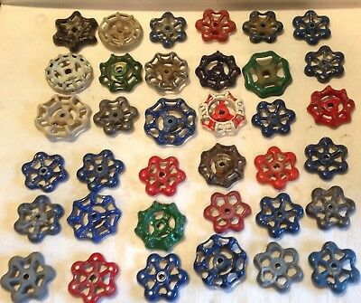 Lot of 36 Vintage Valve Handles Water Faucet Knobs STEAMPUNK Industrial Lot