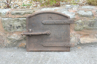 37 x 34.5 cm old cast iron fire bread oven door/doors /flue/clay/range/pizza