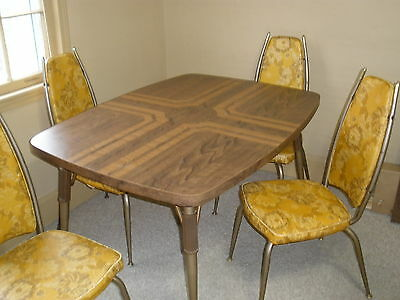 VINTAGE DINER TABLE Set Retro Kitchen Table and 4 Chairs w/Leaf ...