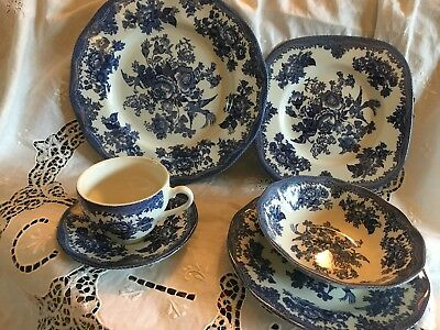 New Johnson Brothers Asiatic Pheasant Blue Pattern 6 pc Dinnerware Setting for 4