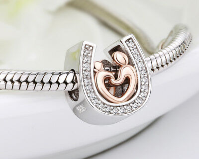💖 Horseshoe Charm Lucky Genuine Real Sterling Silver Mom Son Hand In Hand 925
