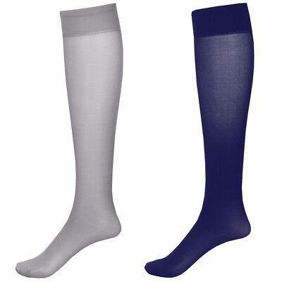 2 Pair Mod. Support Knee High Trouser Socks 15-20 mmHg Compression - Navy/Grey