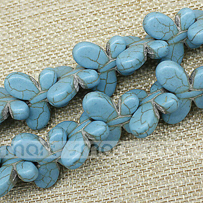 "Blue Butterfly Shape Synthetic Turquoise Loose Beads 15.5"" Inches Strand 20x25mm"