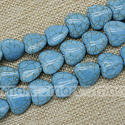 "Blue Heart Shape Synthetic Turquoise Loose Beads 15.5"" Inches Strand 15x15mm"