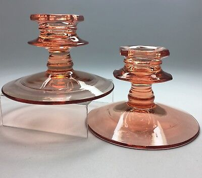 Antique 1924 Diamond Glassware Company Pink Glass 713 Candlestick Candle Holders