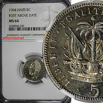 Haiti 1904 5 Centimes NGC MS64  Bust above Date SCARCE Pierre Nord Alexis KM# 53