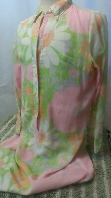 VTG 70's SEARS Fashion Pink Green White FLORAL  NIGHTIE Night shirt MADE IN USA